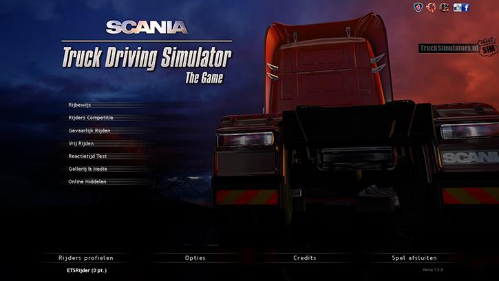 Scania Truck Driving Simulator Menu