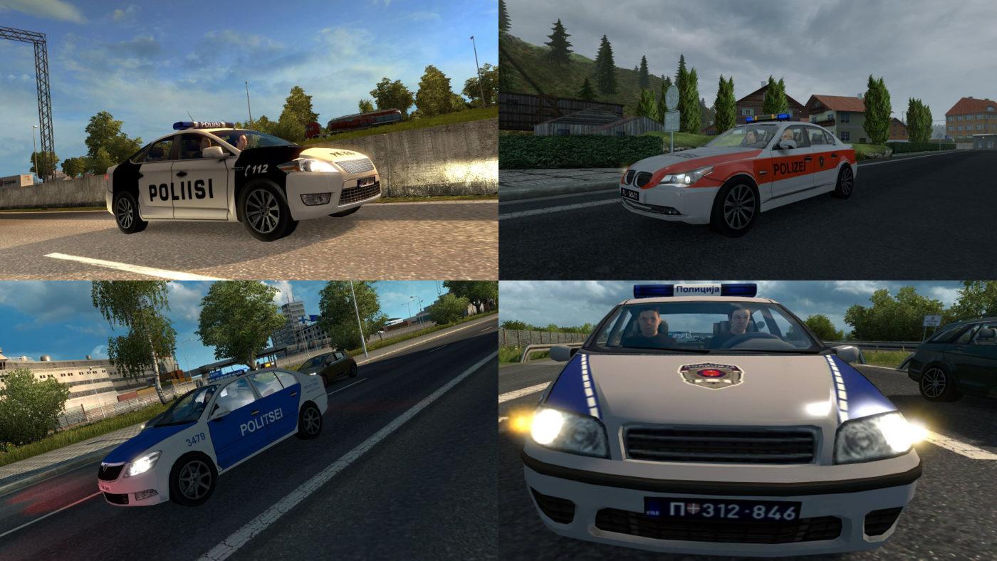 Politie auto's van Finland, Liechtenstein, Estland en Servië.